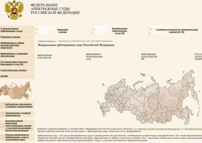 Сайт Федеральные и арбитражные суды РФ